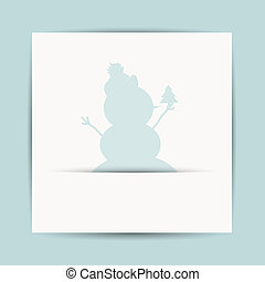 Happy snowman with christmas tree, postcard design
