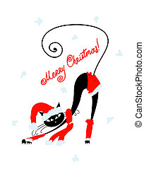 Santa cat silhouette for your design