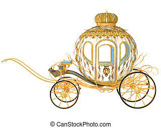fairy tale carriage, isolated on the white background