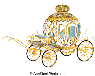 fairy tale royal carriage, isolated