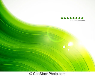 Light glittering green wave background - Abstract vector...