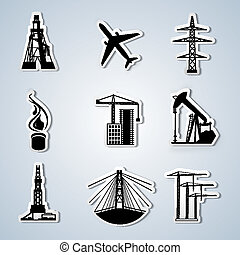 Paper Cut - Industry and Energy icons set. Vector...