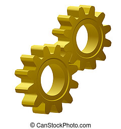 golden gears - illustration of two gears; 3D view