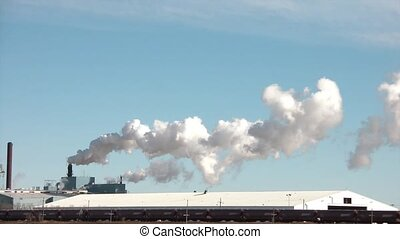 Pollution Emitting with Passing Train - Pollution streams...