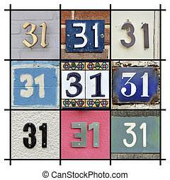 Numbers Thirty-one - Collage of House Numbers Thirty-one