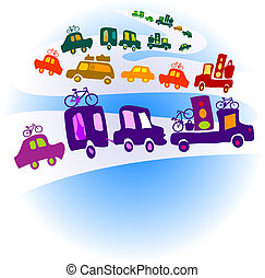caravan - cars caravan, chain of cars on a road