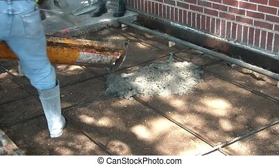 Pouring Concrete - Workers Smoothing - Concrete truck starts...