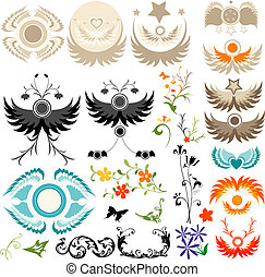 design elements - collection of flying elements and flowers