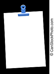 Memo pad and paper clip on black, high angle view