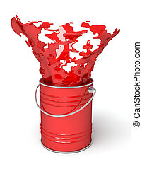 Red paint splashing out of can