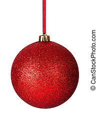 Christmas Bauble - Red christmas bauble with ribbon isolated...