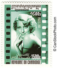 stamp with great american singer and actress Jeanette...