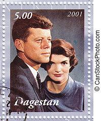 DAGESTAN - CIRCA 2001 : Stamp printed in Dagestan shows John...
