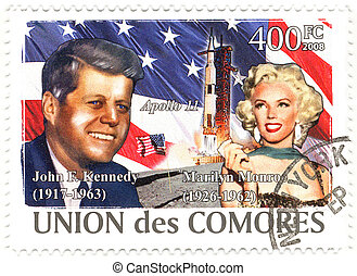 stamp with 35th president of USA John Fitzgerald Kennedy and...