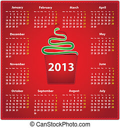 2013 calendar in English - Red calendar for 2013 year in...