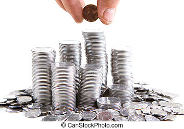 Silver coins are staying in the piles