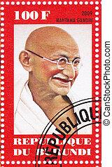 Burundi, -, circa, 2009, :stamp, stampato, Burundi, Mahatma,...