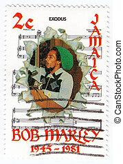 Jamaica, -, circa, 1981, :, selo, impresso, Jamaica, bob,...