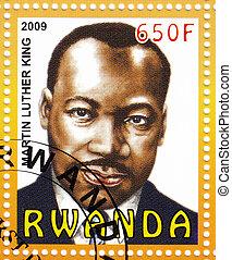 RWANDA - CIRCA 2009 : stamp printed in Rwanda - Dr Martin...