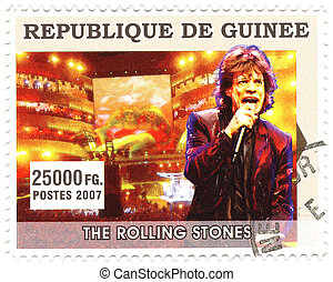 GUINEA - CIRCA 2007 : famous rock singer Mick Jagger from...