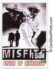 MYANMAR - CIRCA 2001 : stamp printed in Myanmar with Marilyn...