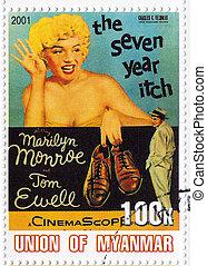 MYANMAR - CIRCA 2001 : Stamp printed in Myanmar with popular...