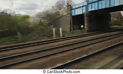 Train travel UK. Past flats. - Travelling by train. North of...