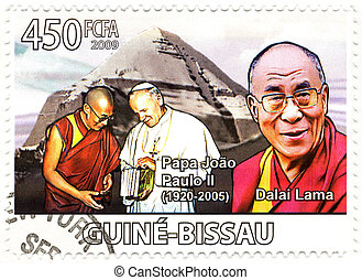 stamp with Dalai Lama and Papa John Paul II