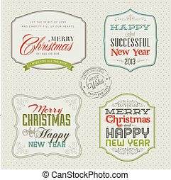 Set of vintage Christmas cards - Set of vintage styled...