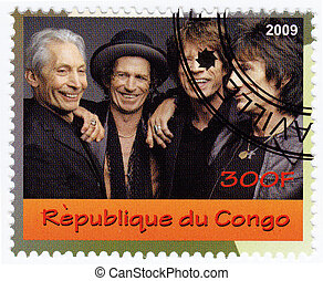 CONGO - CIRCA 2007 : stamp printed in Congo with  music group Rolling Stones, circa 2007