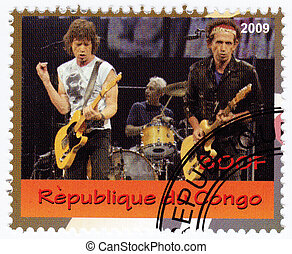 CONGO - CIRCA 2009 : stamp printed in Congo with  music group Rolling Stones, circa 2009