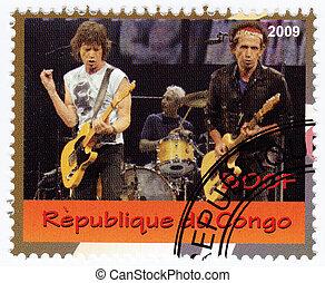 congo, -, circa, 2009, :, selo, impresso, congo,...