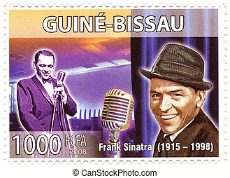 stamp with famous singer Frank Sinatra