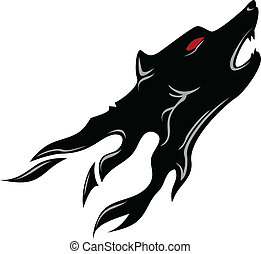 wolf head tattoo - vector illustration of wolf head tattoo