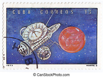 CUBA - CIRCA 1973 : stamp printed in Cuba shows the soviet...
