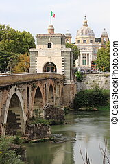 Milvio bridge in Rome - Milvio bridge over the Tiber river...