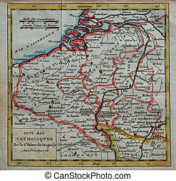 original antique Netherlands map - colored XVIIIth century...
