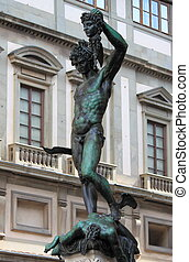 Perseus and Medusa - Statue of Perseus and Medusa in...