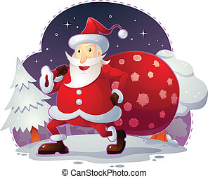 Santa Claus - Illustration for christmas theme. Editable eps...