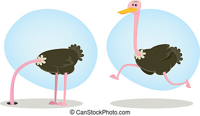 Ostrich Running And Hiding Head - Illustration of a funny...
