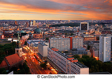 berlin skyline sunset - aerial image of berlin skyline with...