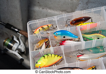fishing equipment - Colourfull box of tile fishing
