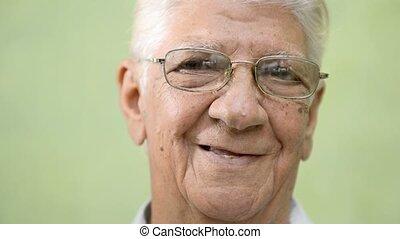 Happy old people, elderly man smile