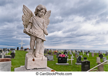 Angel under storm clouds nice grey colored