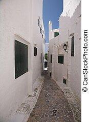 way out corridor - village of Binibeca at Menorca island in...