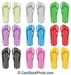 color flip flop set - Flip flop set on a white background....