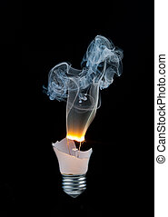 light bulb burns out - Broken light bulb burns and smoke...