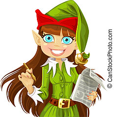 Elf with pen ready to record wishes - Cute christmas Elf...