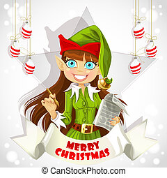 christmas Elf with pen ready to record wishes