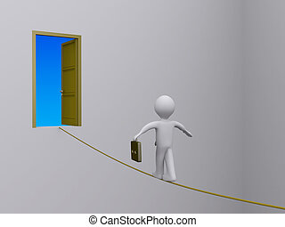 Businessman on tightrope trying to reach open door - 3d...
